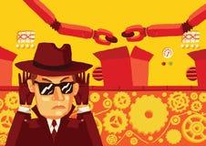 Un hombre en gafas de sol y un sombrero supervisa secretamente la producción y roba datos confidenciales Foto de archivo libre de regalías