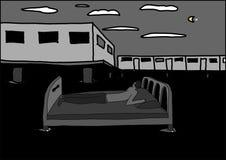 Un hombre en la cama en el agua de la noche Imágenes de archivo libres de regalías