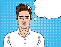 Un hombre en una camisa blanca con los ojos cerrados Imagenes de archivo