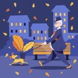 Un hombre envejecido medio en un traje camina al aire libre con su perro stock de ilustración