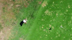 Un hombre golpea una bola con el pie mientras que juega a golf en un curso metrajes