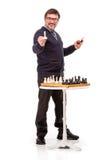 Un hombre hermoso en un traje y vidrios, con un tubo para fumar Fotografía de archivo libre de regalías