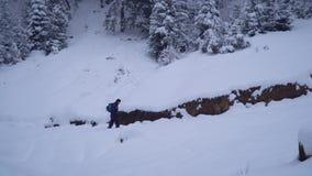 Un hombre joven camina solamente a través de chivatos bastante turísticos nevosos de un joven del bosque a través de las derivas  almacen de video