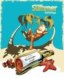 Un hombre joven en el cóctel de relajación y de consumición de la playa bajo calor del sol con el árbol de coco dos No lea el men stock de ilustración