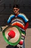 Un hombre joven en poncho colorido y un sombrero Foto de archivo libre de regalías