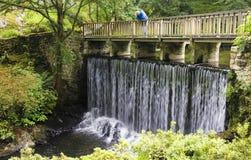 Un hombre mira abajo del puente de la cascada Fotografía de archivo