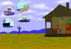 Un hombre piensa en diversas cosas y otro hace un rastrillo libre illustration
