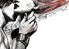 Un hombre que besa a una muchacha en su cuello frágil Foto de archivo