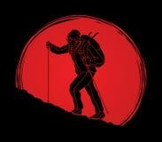 Un hombre que camina en la montaña stock de ilustración