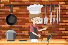 Un hombre que cocina la galleta en cocina stock de ilustración