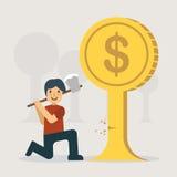 Un hombre que corta el árbol del dinero libre illustration