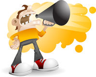 Un hombre que grita en alta voz libre illustration