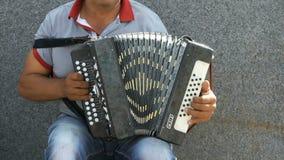 Un hombre que juega el acordeón en verano al aire libre metrajes