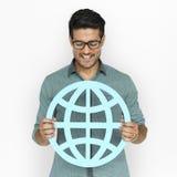 Un hombre que lleva a cabo la muestra global de la comunidad Imagen de archivo libre de regalías