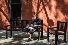 Un hombre que manda un SMS en un parque imágenes de archivo libres de regalías