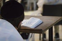 Un hombre religioso que sienta y que lee un torah en la pared que se lamenta Leyendo el libro sagrado del judaísmo en la pared oc fotos de archivo
