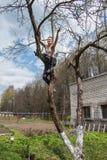 Un hombre se sienta en un árbol y aserrar la rama Fotos de archivo