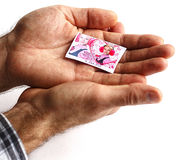 Un hombre sostiene una foto Imagen de archivo libre de regalías