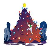 Un hombre sube para arriba el instagram de la montaña que confía en los gustos, postes, comentarios que apuntan para el top de éx libre illustration
