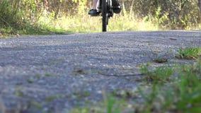 Un hombre una bicicleta pedaling lentamente y va en el camino pisado almacen de metraje de vídeo