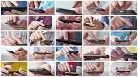 Un hombre usando los apps en un smartphone móvil de la pantalla táctil almacen de video