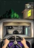 Un hombre viene en casa ilustración del vector