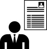 Un hombre y su CV ilustración del vector