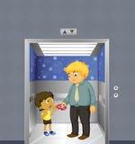 Un hombre y un niño dentro del elevador Imagenes de archivo