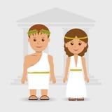 Un hombre y una mujer en los trajes griegos Imagen de archivo
