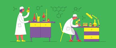 Un hombre y una mujer en uniforme están trabajando en un laboratorio Laboratorio químico y biológico ilustración del vector