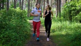 Un hombre y una mujer en zapatillas deportivas corren a lo largo de la trayectoria en un día soleado en un parque del verano, cón almacen de video