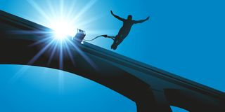 Bungee jumping from the top of a bridge vector illustration