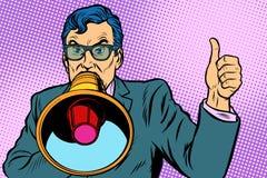 Un homme avec un mégaphone illustration libre de droits