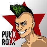 Un homme avec un Mohawk vert sur le fond d'une étoile rouge et d'une inscription de punk rock illustration de vecteur