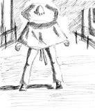Un homme avec un sombrero prêt pour un duel illustration stock