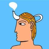 Un homme avec un bac de cofe dans sa tête Image libre de droits