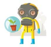 Un homme avec un costume environnemental Image libre de droits