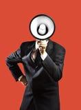 Un homme avec un mégaphone photos stock