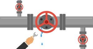 Un homme avec une clé élimine la fuite dans le tuyau La main tient une clé et élimine la fuite dans la conduite d'eau illustration de vecteur