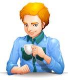 Un homme avec une cuvette de thé Photo stock