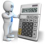 Un homme avec une grande calculatrice qui affiche le numéro de pi Photographie stock libre de droits
