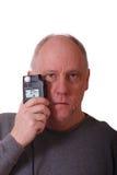 Un homme Balding plus âgé dans la chemise grise image stock