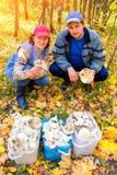 Un homme bel et une femme avec une récolte riche des marécages blancs je dans la forêt photos stock