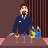 Un homme buvant une bouteille de cocktail illustration de vecteur
