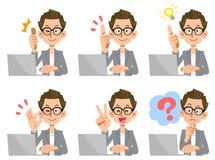 Un homme comme un créateur qui actionne un ordinateur portable, un ensemble d'expressions du visage et des gestes illustration de vecteur