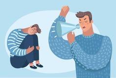 Un homme criant à autre problèmes de famille, pression au travail Abus psychologique illustration stock
