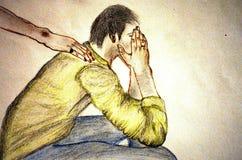 Un homme déprimé Image libre de droits