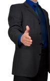 Un homme d'affaires avec une main ouverte prête Photo stock