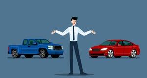 Un homme d'affaires heureux, vendeur tient et présente sa voiture et camion pick-up de luxe qui se sont garés dans la salle d'exp illustration stock