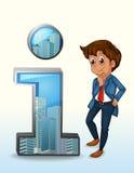 Un homme d'affaires pensant près de la figure du numéro un Images stock